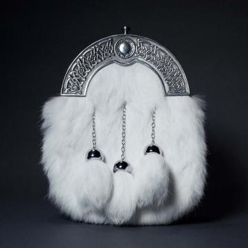 WHITE RABBIT FUR AND CHROME CANTLE DRESS SPORRAN