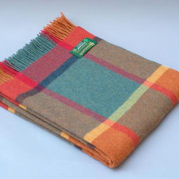 John Hanly Lambswool blanket in Orange Green and Yellow Check