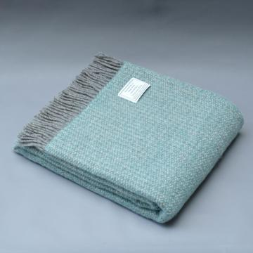Pure New Wool Blanket in Aqua Blue and Grey