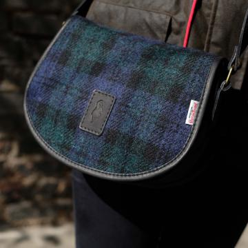Handmade Cartridge bag in Black Watch Harris Tweed and Deer Leather
