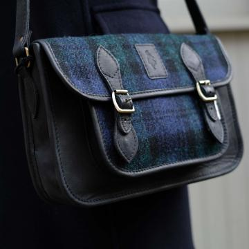 Handmade Satchel in Black Watch Harris Tweed and Deer Leather