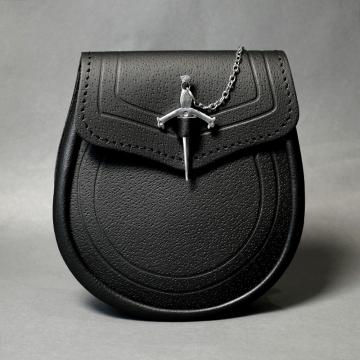 Black Embossed Leather & Sword Pin Clasp