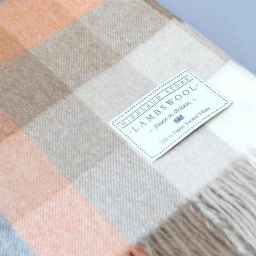 Fine Lambswool Blanket in Orange Cream and Beige Check