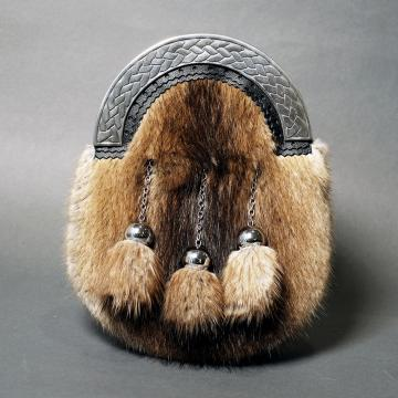 MUSKRAT FUR AND CELTIC KNOT CHROME CANTLE