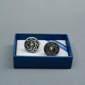 Round Pewter Cufflinks with Celtic Design