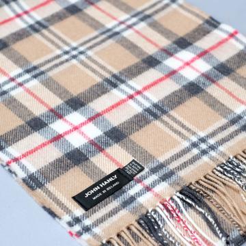 John Hanly merino wool scarf in camel with check pattern