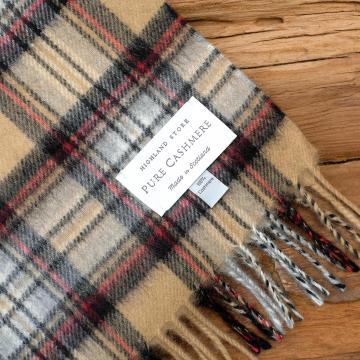 Cashmere scarf in the traditional Camel Stewart Tartan