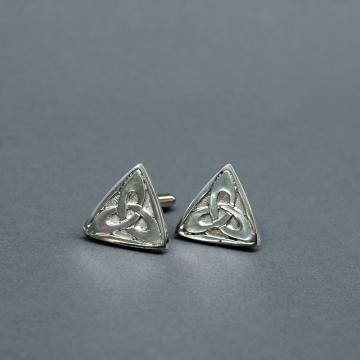 Triangle Celtic Trinity Knot Pewter Cufflinks