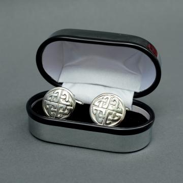 Round Pewter Cufflinks with Knot Design