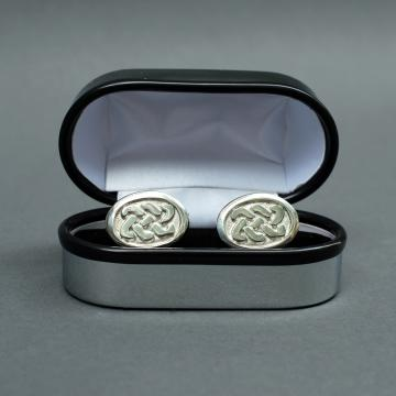 Oval Pewter Cufflinks with Celtic Design