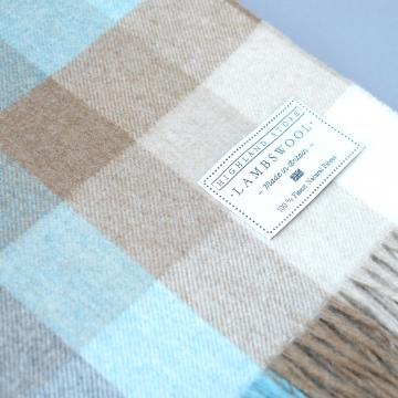 Fine Lambswool Blanket in Aqua Cream and Beige Check