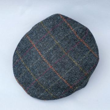JOHN HANLY TWEED CAP IN BLUE WINDOWPANE