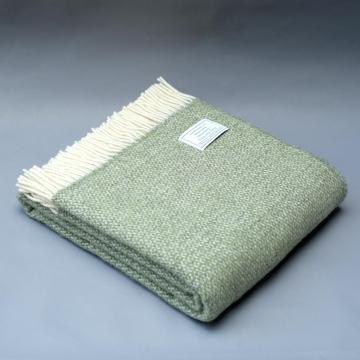 Pure New Wool Blanket in Green Ecru and Grey