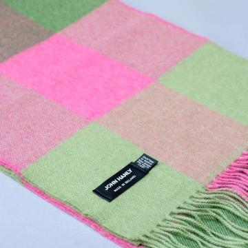 John Hanly merino wool scarf with pink and green block check pattern