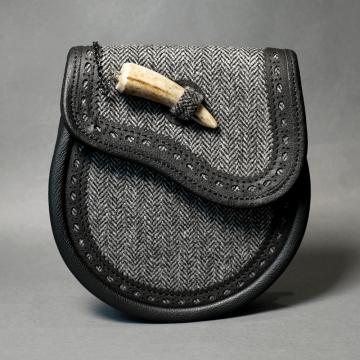 Grey Tweed and black leather day sporran