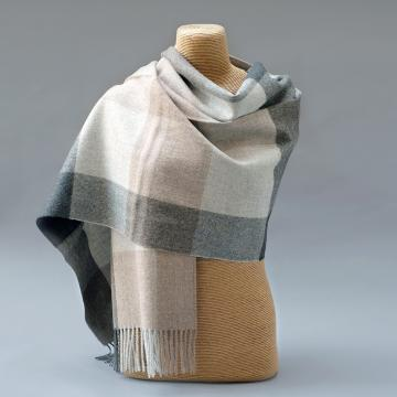 Pure Alpaca Stole in Grey and Beige Check