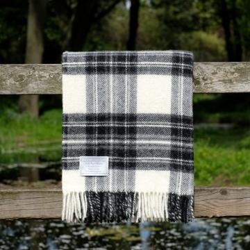 Highland Store Utility Rug Grey Dress Stewart. Pure Wool Throw in Grey Dress Stewart. Tartan Blanket.