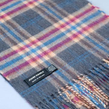 John Hanly merino wool scarf in grey with check pattern