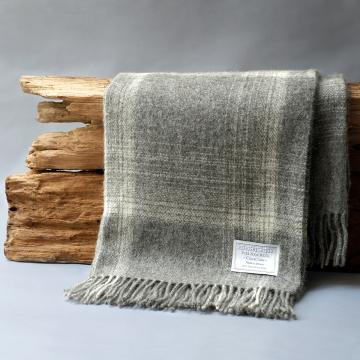 Grey Check Blanket in pure new wool by Bronte
