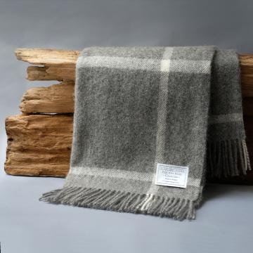 Un-dyed Pure New Wool Windowpane Blanket in Grey and Cream