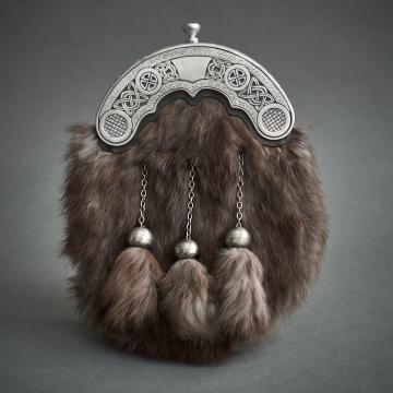 Possum fur and brushed celtic cantle dress sporran