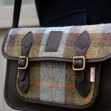Handmade Satchel in Hunting Macleod Harris Tweed and Deer Leather
