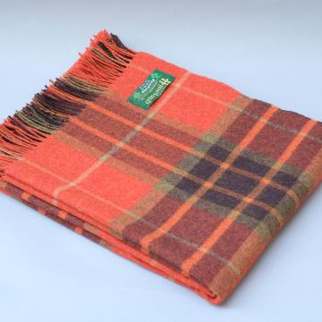 John Hanly Lambswool blanket in Orange Green and Brown Check