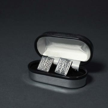 Rectangular Pewter Cufflinks with Celtic Design