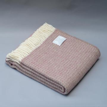 Pure New Wool Blanket in Pink Sage and Ecru
