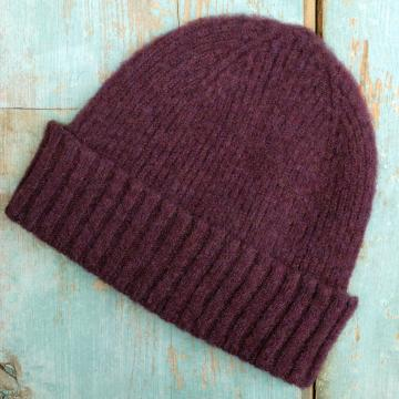 Brushed Wool Beanie Hat in Plum