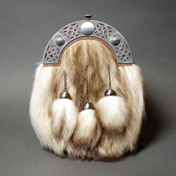 Raccoon Fur Dress Sporran with Antique Cantle
