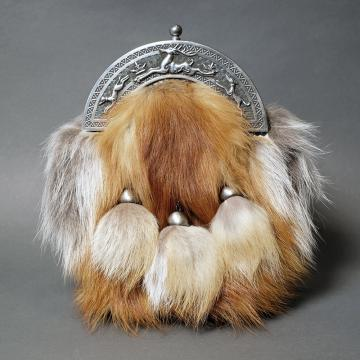 RED FOX FUR AND ANTIQUE STAG AND HOUNDS CANTLE