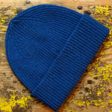 Pure Wool Beanie Hat in Royal Blue