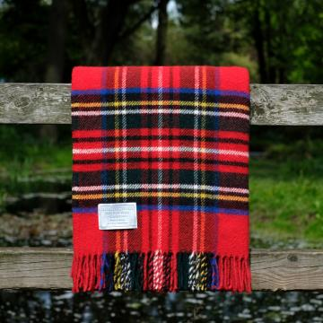 Highland Store Utility Rug Royal Stewart. Pure Wool Throw in Royal Stewart. Tartan Blanket. Royal Stewart Blanket