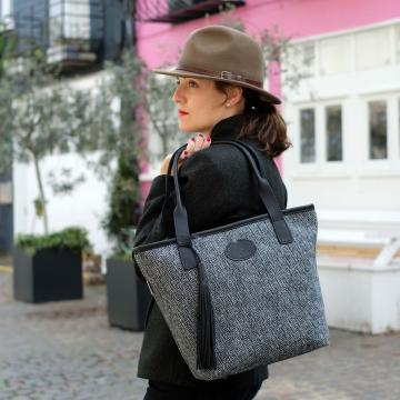 Handmade Shopper Bag in Grey Harris Tweed and Deer Leather