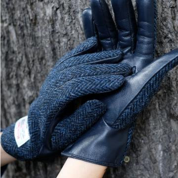 NAVY HARRIS TWEED AND LEATHER LADIES GLOVES