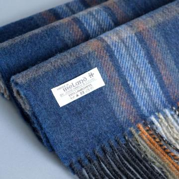 John Hanly navy lambswool scarf with check pattern