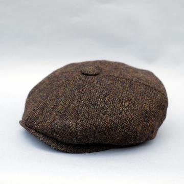 HARRIS TWEED BAKER BOY CAP IN BROWN