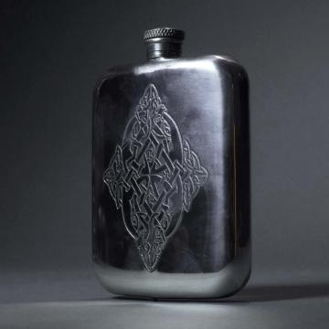 Pewter Flask with Diamond Shaped Celtic Design