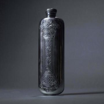 Pewter Flask with Dragon Head Celtic Design