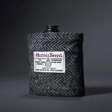Steel Flask with Harris Tweed Cover & Captive Top
