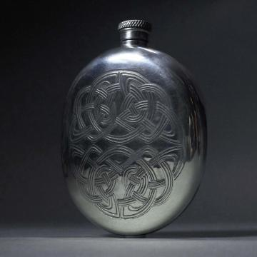 Pewter Flask with Interlace Celtic Design