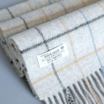 John Hanly light grey lambswool scarf with check pattern