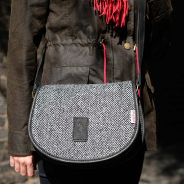 Handmade Cartridge bag in Grey Harris Tweed and Deer Leather