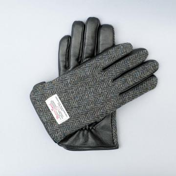 GREY HARRIS TWEED AND BLACK LEATHER MENS GLOVES.