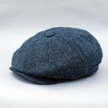 HARRIS TWEED BAKER BOY CAP IN NAVY HERRINGBONE