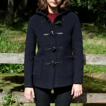 HIGHLAND STORE LADIES WOOL DUFFLE COAT IN NAVY
