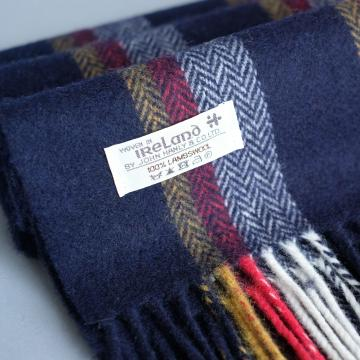 John Hanly navy red yellow herringbone lambswool scarf