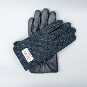 NAVY HARRIS TWEED AND LEATHER MENS GLOVES