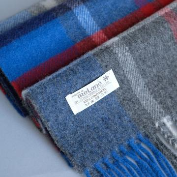 John Hanly grey lambswool scarf with red blue white check pattern